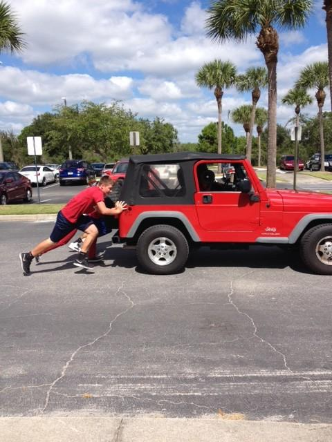 The mighty Jeep push.